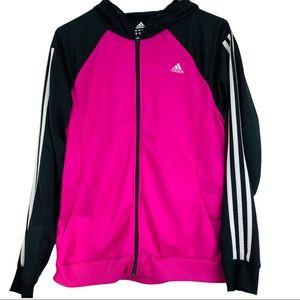 Adidas Women's Pink and Black Track Jacket Large
